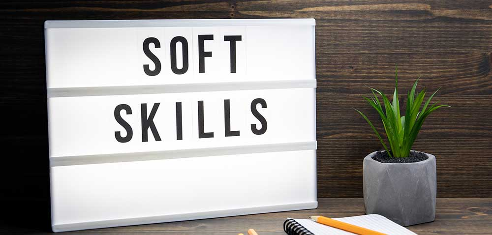 Soft Skills concept. Text in lightbox